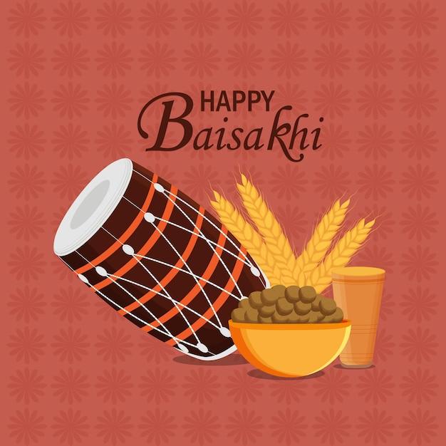 Cartão de feliz celebração vaisakhi com tambor Vetor Premium