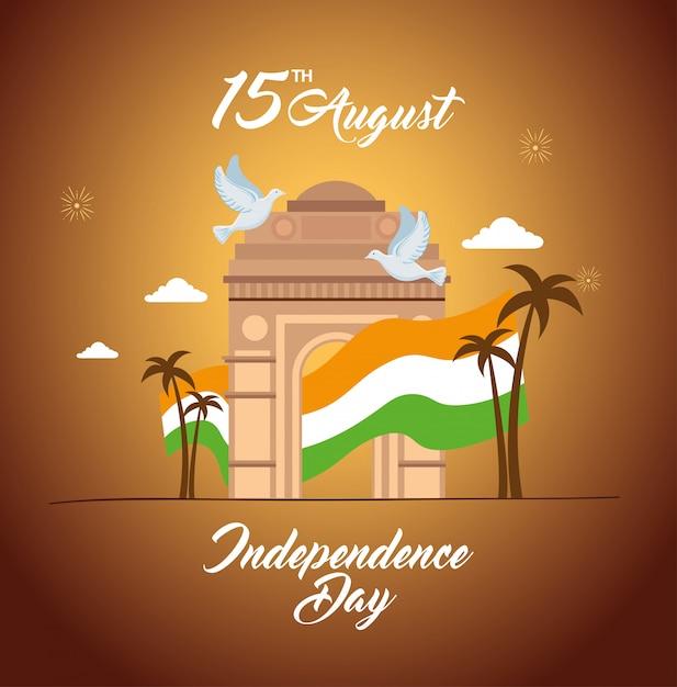 Cartão de feliz dia da independência indiana, celebração 15 de agosto, com o monumento do portão e a bandeira da índia Vetor Premium