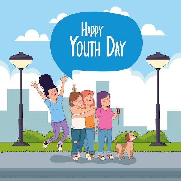Cartão de feliz dia da juventude com desenhos de adolescentes Vetor grátis