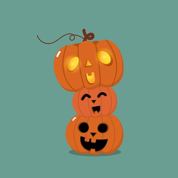 Cartão de feliz dia das bruxas com abóbora laranja fofa Vetor Premium