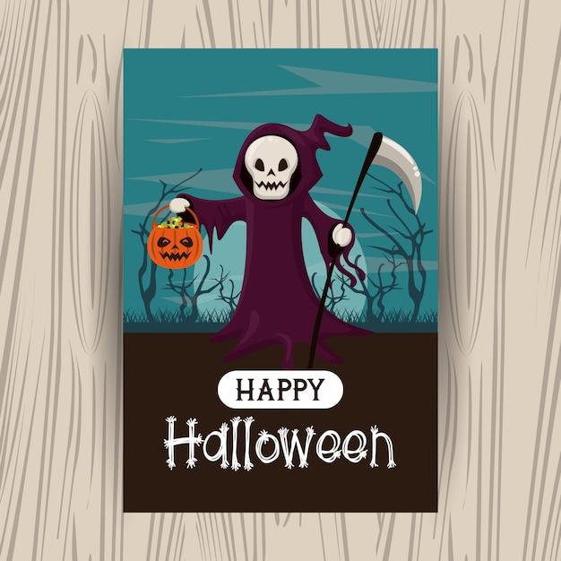 Cartão de feliz dia das bruxas com desenhos animados Vetor Premium