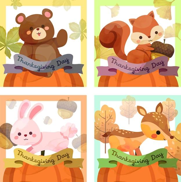 Cartão de feliz dia de ação de graças com esquilo, urso, coelho e veado. Vetor grátis