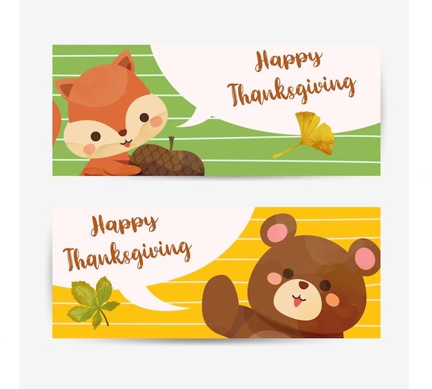 Cartão de feliz dia de ação de graças com esquilo, urso e folhas. Vetor grátis