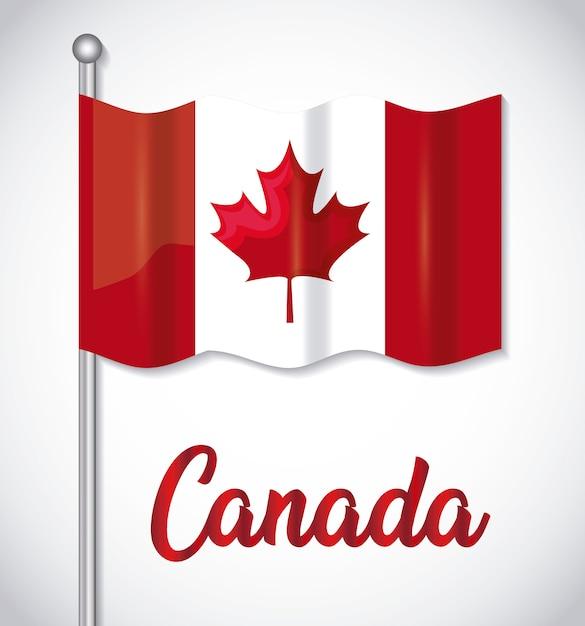 Cartão de feliz dia do canadá com bandeira Vetor Premium