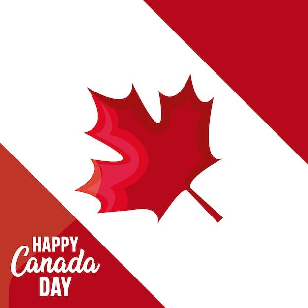 Cartão de feliz dia do canadá com folha de plátano Vetor Premium