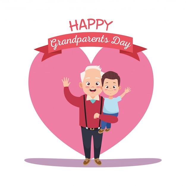 Cartão de feliz dia dos avós com avô e neto Vetor Premium