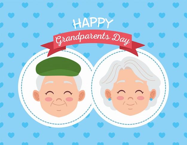 Cartão de feliz dia dos avós com ilustração de casal de idosos Vetor Premium