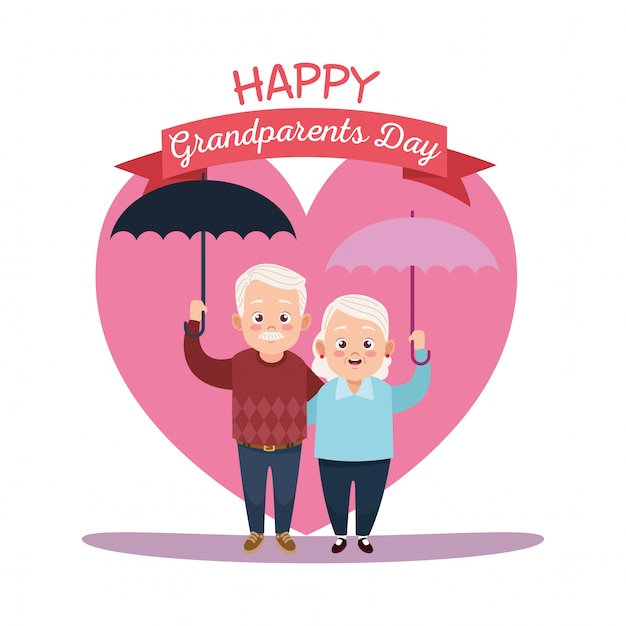 Cartão de feliz dia dos avós com um casal de idosos levantando guarda-chuvas Vetor Premium