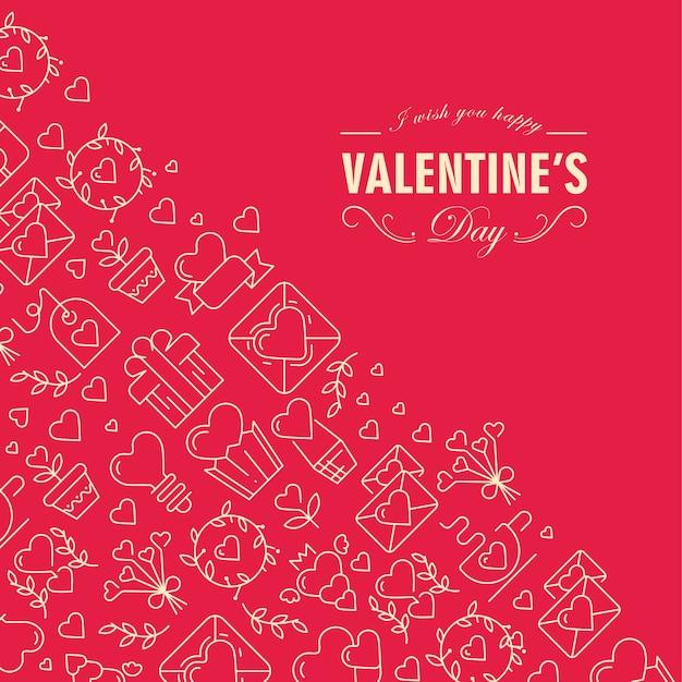 Cartão de feliz dia dos namorados dividido em duas partes com texto incluindo desejos de ser feliz no canto frontal e muitos ícones como coração, galho, envelope no esquerdo na ilustração vermelha Vetor grátis