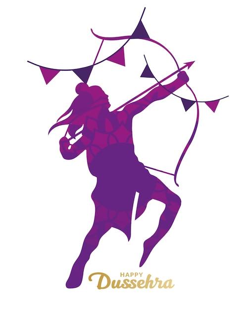 Cartão de feliz dussehra com silhueta segurando um arco e uma flecha Vetor Premium