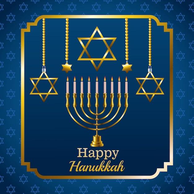 Cartão de feliz festa de hanukkah com candelabro e estrelas em moldura quadrada Vetor Premium