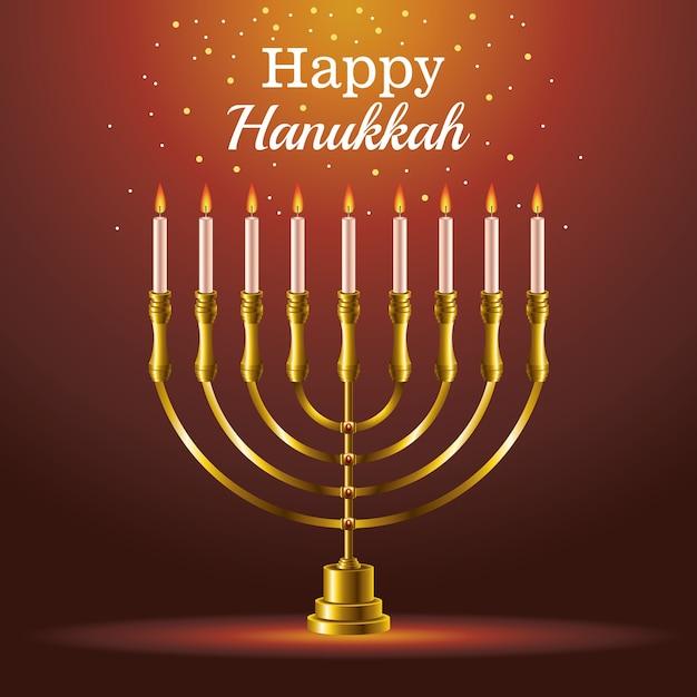 Cartão de feliz festa de hanukkah com candelabro Vetor Premium