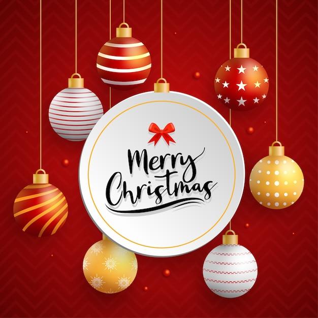 Cartão de feliz natal com bola vermelha Vetor grátis