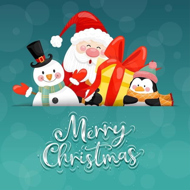 Cartão de feliz natal com caixa de papai noel, boneco de neve, pinguim e presente. Vetor grátis