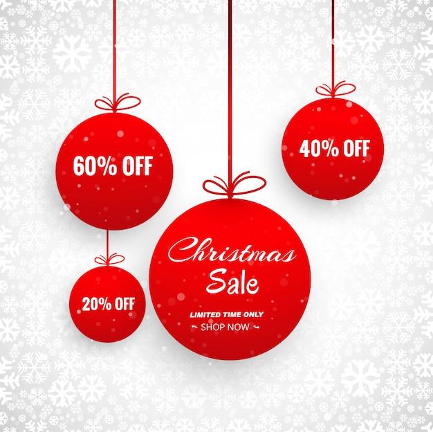 Cartão de feliz natal com design de venda de bola decorativa Vetor grátis