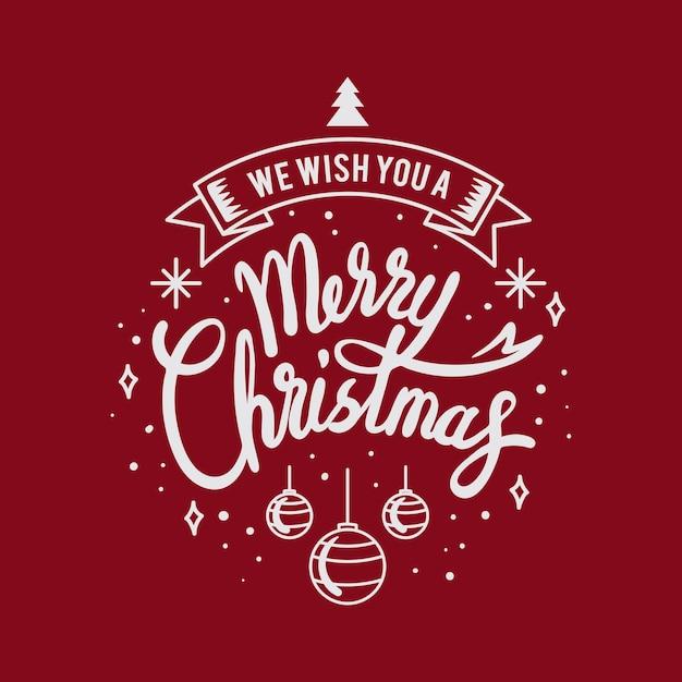 Cartão de feliz natal com letras Vetor grátis