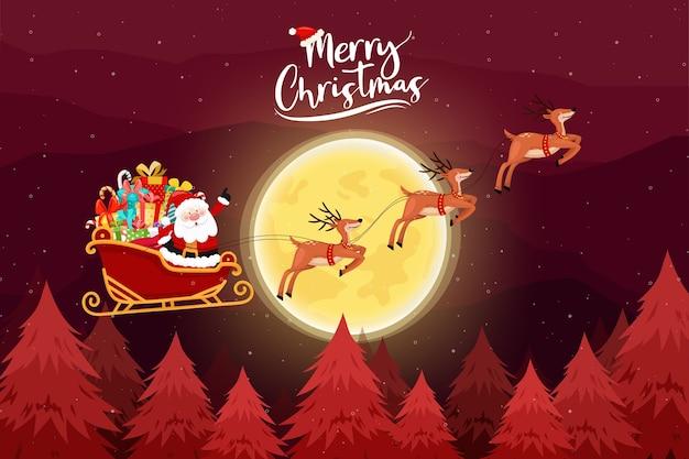 Cartão de feliz natal com papai noel deve andar de trenó. Vetor grátis