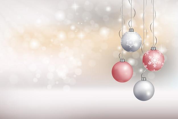 Cartão de feliz natal com vetor de bola de suspensão Vetor Premium