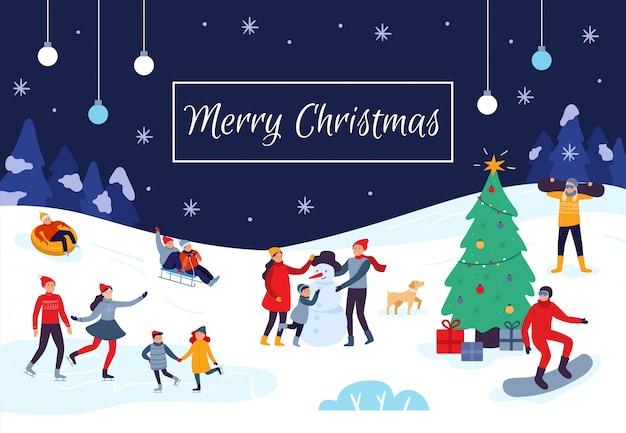 Cartão de feliz natal de pessoas de inverno. atividades de neve, crianças felizes fazem boneco de neve e ilustração vetorial de cartão postal de férias de natal Vetor Premium