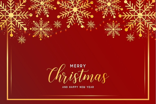 Cartão de feliz natal e ano novo com flocos de neve e modelo de moldura dourada Vetor grátis