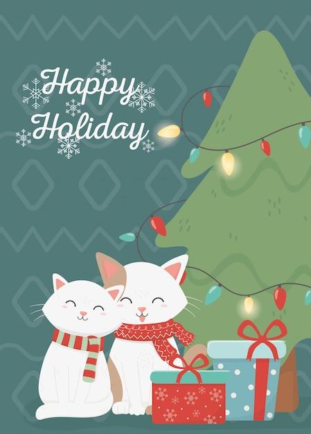 Cartão de feliz natal feliz celebração de gatos Vetor Premium