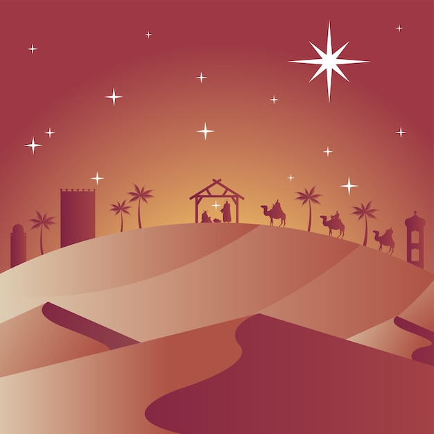 Cartão de feliz natal feliz com a sagrada família no estábulo e magos bíblicos em vetor de silhuetas de camelos Vetor Premium