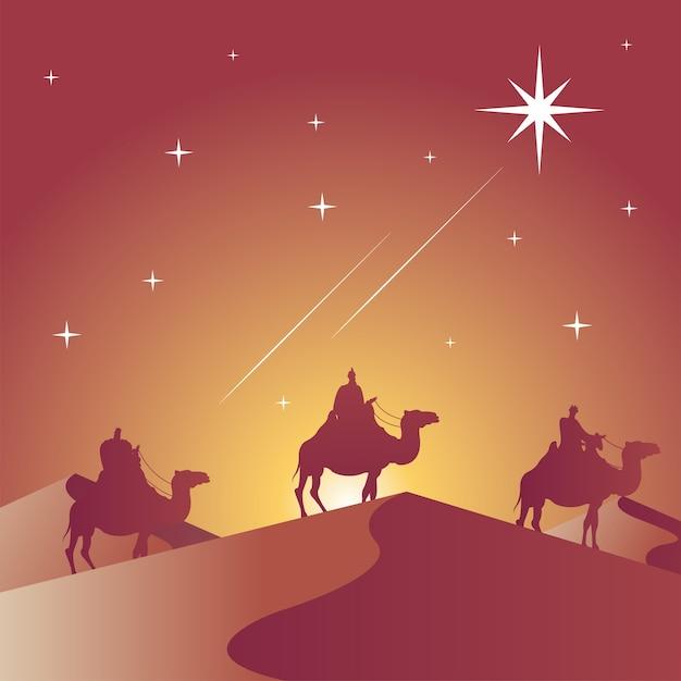 Cartão de feliz natal feliz com magos bíblicos em camelos silhueta cena ilustração vetorial design Vetor Premium