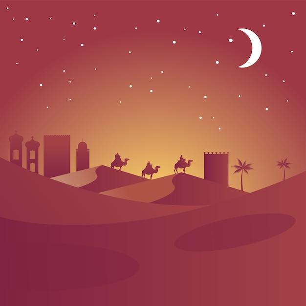 Cartão de feliz natal feliz com os magos bíblicos em silhuetas de camelos ilustração em vetor cena do deserto Vetor Premium