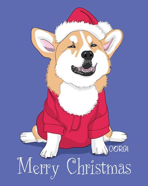Cartão de feliz natal mão desenhada corgi bonito ilustração Vetor Premium