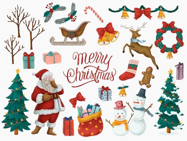 Cartão de feliz natal mão desenhada Vetor grátis
