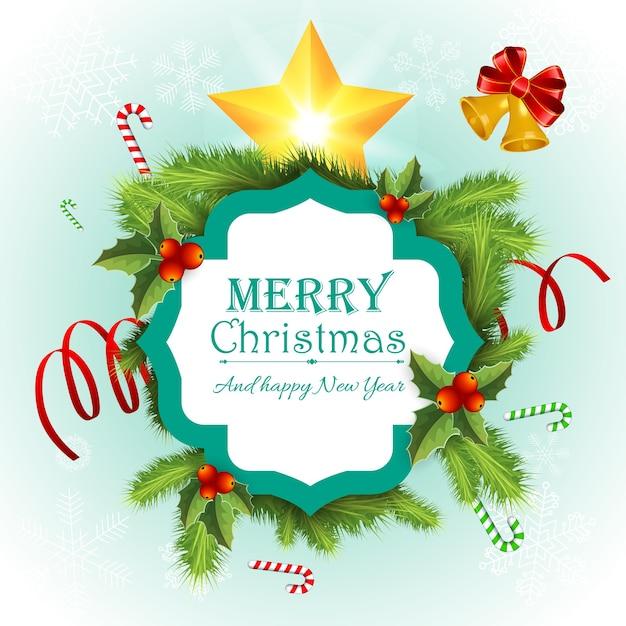 Cartão de feliz natal Vetor grátis