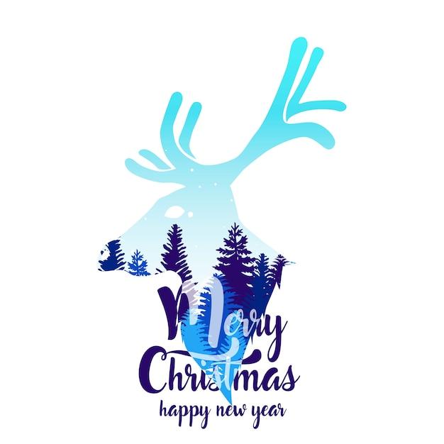 Cartão de feliz natal. Vetor Premium