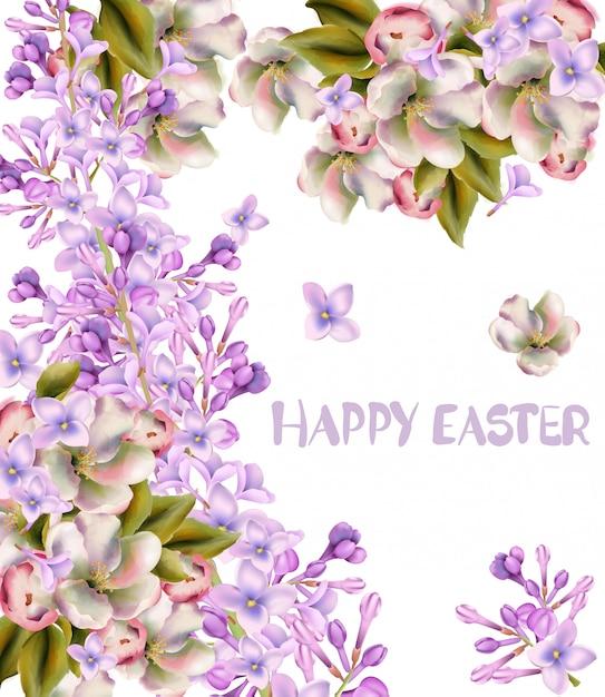 Cartão de feliz páscoa. aquarela de flores de primavera Vetor Premium