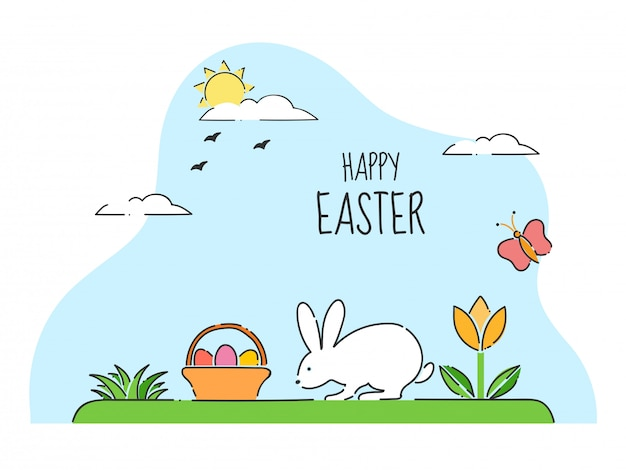 Cartão de feliz páscoa celebração com coelhinha andando e cesta de ovos na vista para o jardim do sol Vetor Premium
