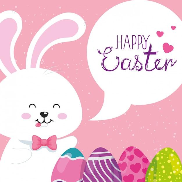 Cartão de feliz páscoa com coelho e ovos decorados Vetor Premium
