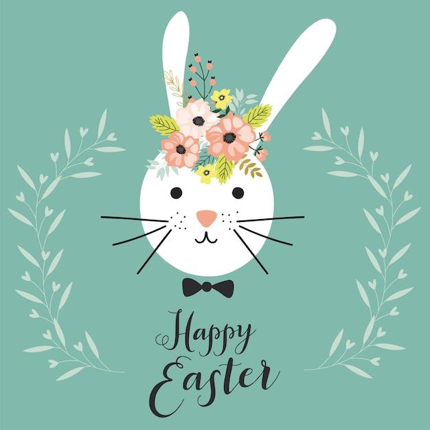 Cartão de feliz páscoa com coelho. Vetor Premium