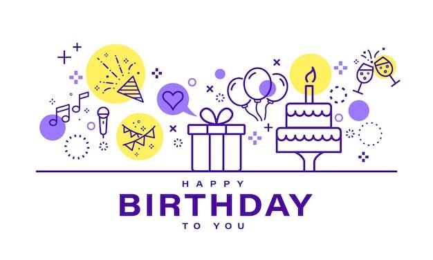Cartão de festa de celebração com elementos delinear ícones. Vetor Premium