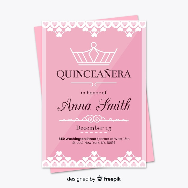 Cartão de festa de coroa quinceanera linear Vetor grátis