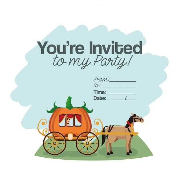 Cartão de festa de crianças de halloween Vetor Premium