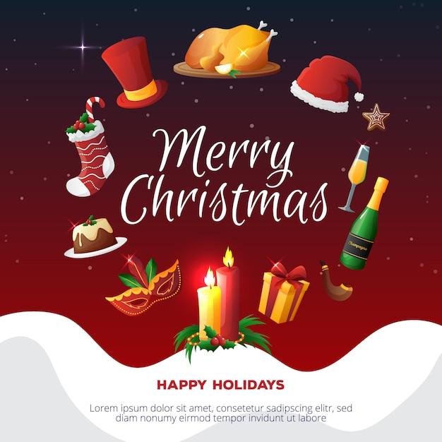 Cartão de festa de natal colorido Vetor grátis
