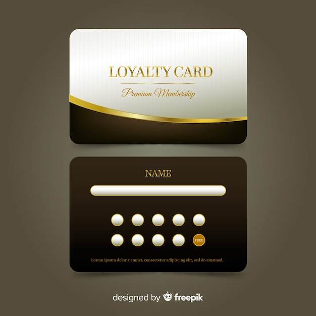 Cartão de fidelidade premium com estilo dourado Vetor grátis