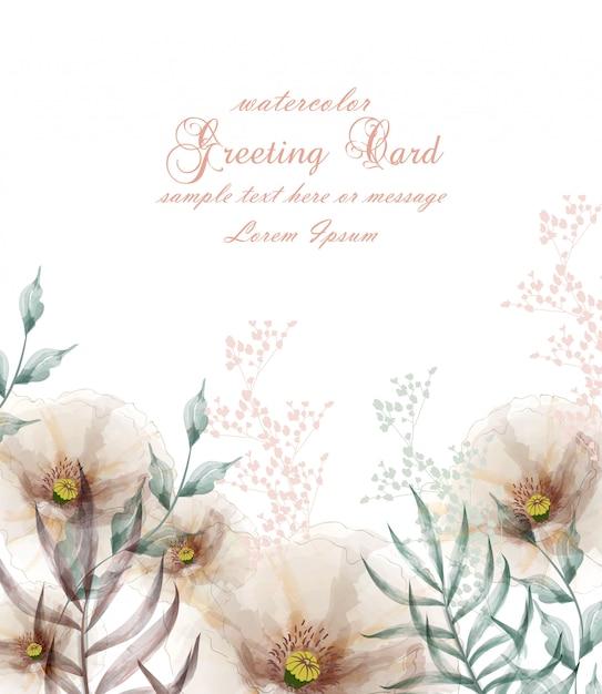 Cartão de flor de quadro de flores em aquarela Vetor Premium