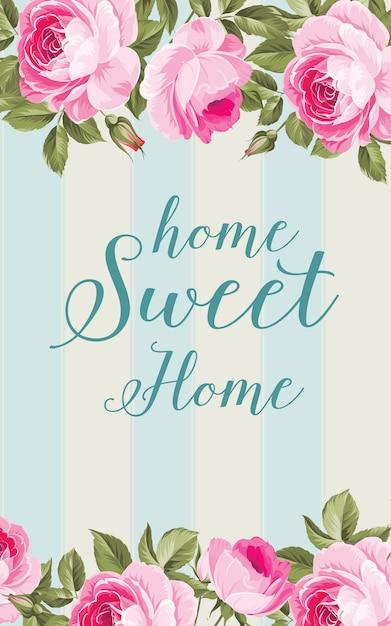 Cartão de flor em casa. Vetor Premium