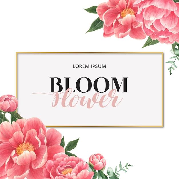 Cartão de flores em aquarela peônia Vetor grátis