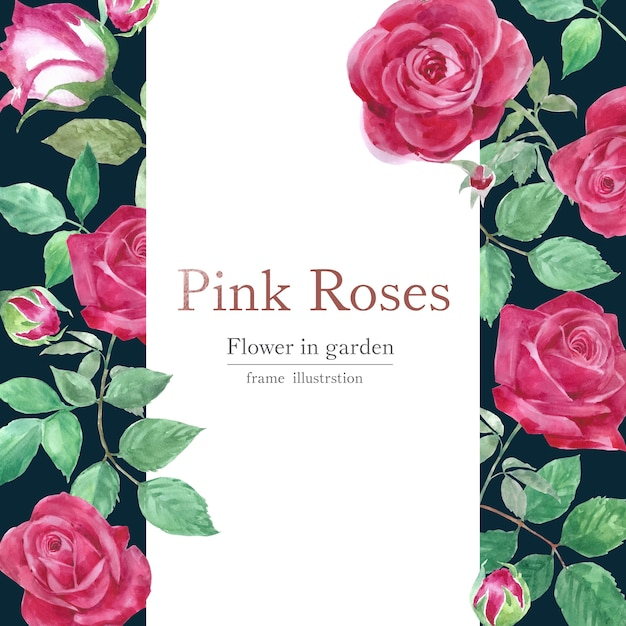 Cartão de flores em aquarela rosa Vetor grátis