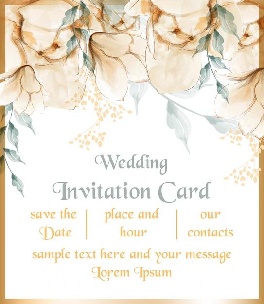 Cartão de flores em aquarela Vetor Premium