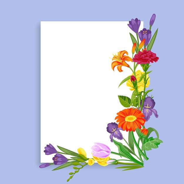 Cartão de flores para decoração de venda de primavera, modelo colorido para promoção de negócios, ilustração dos desenhos animados. Vetor Premium