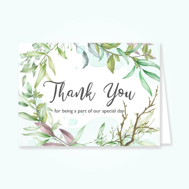 Cartão de folhas bonitas com mensagem de agradecimento Vetor Premium