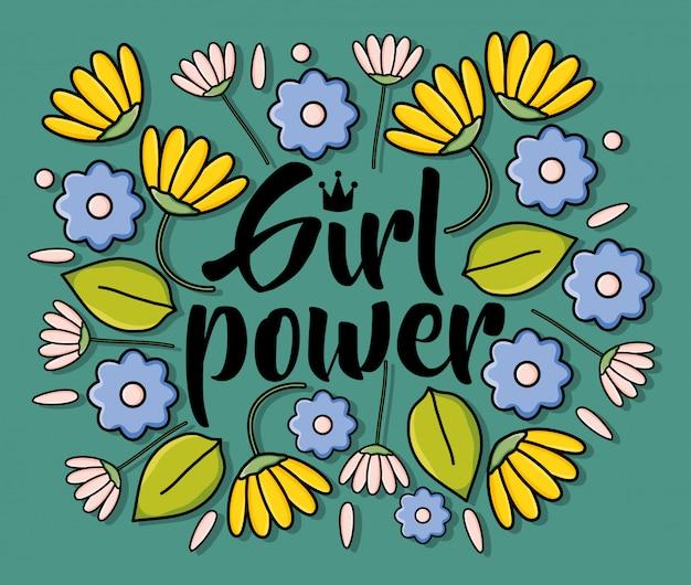 Cartão de garota de poder com decoração floral Vetor Premium