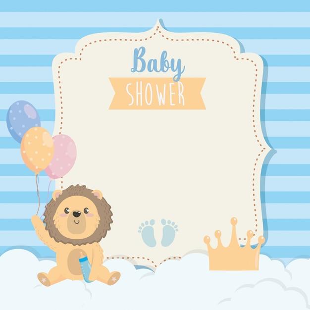 Cartão de giro leão com mamadeira e balões Vetor grátis